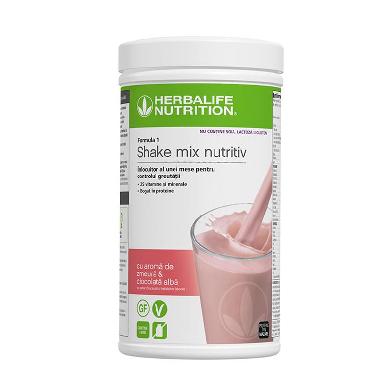 Herbalife Shake Formula 1 Fără alergeni cu aromă de zmeură și ciocolată albă